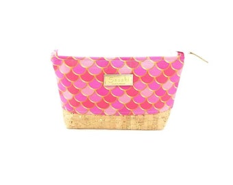 "9"" x 5"" - Pink Mermaid Cosmetic - Gadget Bag - zipper pouch - Bag organizer -"