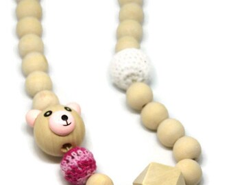 Kids wooden necklace, Pearl Pink Teddy bear and crochet beads