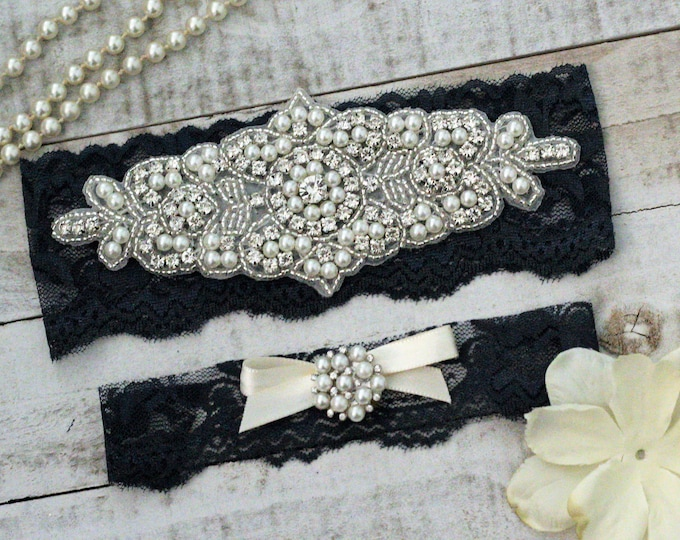 Navy Bridal Garter Set NO SLIP grip vintage rhinestones, pearl and rhinestone garter set, Something Blue A08S-A*29