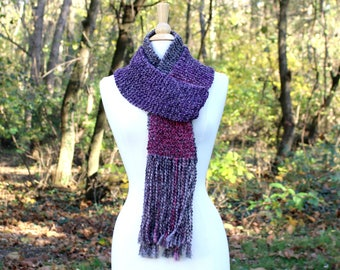 Knit scarf with fringe, purple scarf, knit neck warmer, gray scarf, tassel scarf, warm knit scarf, gift for her, women winter scarf