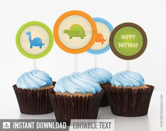 Dinosaur Party - Cupcake Toppers - Party Circles - Dino Party - INSTANT DOWNLOAD - Printable PDF with Editable Text