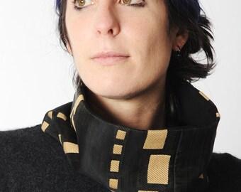Schwarze geometrische Schlauchschal, schwarz und Beige Schlauchschal aus geometrischen Vintage Stoff, Geschenk für Frauen, Frauen Zubehör MALAM