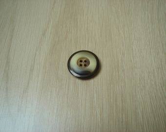 large button shape Brown ivory domed round