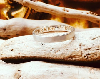 Message ring, silver band ring, brushed silver ring, secret message ring, personalised ring,