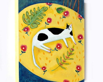 Black and White Cat on a Yellow table cloth Cat folk art original acrylic painting by TASCHA 8x10