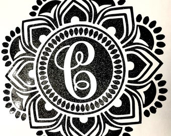 Decal, GlitterMandala Decal only, Mandalas, Tumler Decals, Monogrammed mandala, Monograms, Car decal,  Vinyl Decals