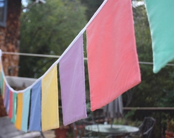 Square Bunting Flag Banner, Custom Colors, Solid Fabric, Extra Large Square Shaped Flags. Prayer Flags. Wedding  or Shower Idea.