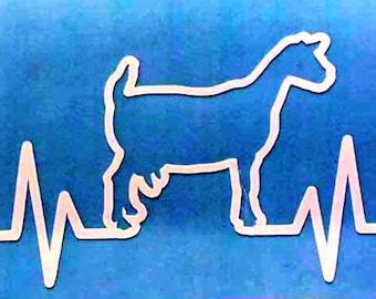 Goat Heartbeat Vinyl Decal Sticker - Dairy Goat - Die Cut, Custom Car Window, Laptop, Tumbler, Water Bottle, Bumper - You Choose Color
