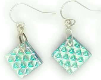 Dichroic Earrings, Dichroic Glass Earrings, Dichroic Glass, Dichroic Jewelry, Fused glass Earrings, fused glass jewelry, prismatic earrings