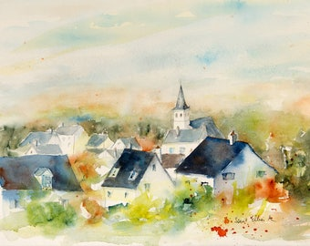 Original painting of some slate roofs in the Loire valley near Saumur -original watercolor of Anjou cityscape- landscape of the Loire valley