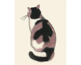 "Cat art tortoiseshell cat   Contemplation - 4"" X 6"" - 4 for 3 SALE"