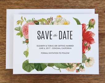 Printable Save the Date Card - Save the Date Template - Instant Download - Save the Date PDF - Floral Save the Date Card - Lush Florals