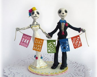 Day of the Dead Wedding Cake Toppers Frida Rustic Mexican Style Custom Cake Topper Skeleton Dia de los Muertos True Love Never Dies