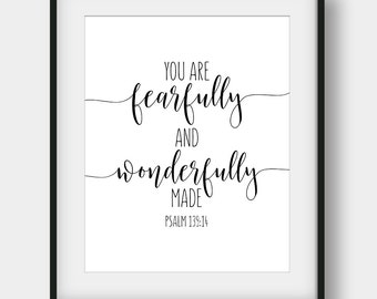 60% OFF You Are Fearfully And Wonderfully Made, Psalm 139:14, Scripture Print, Bible Verse Print, Christian Printable Art, Nursery Decor