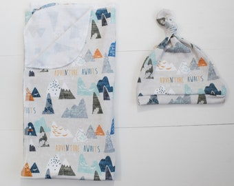 Mountain Swaddle Blanket/adventure awaits/Mountain Swaddle/baby boy Blanket/Mountain/Infant swaddle blanket/ Baby/ Swaddle Blanket/Infant