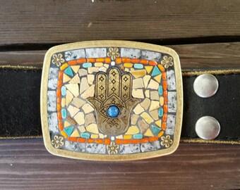 Hamsa Hand Moroccan Mosaic Belt Buckle
