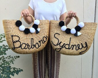 PRE-ORDER Straw Bag, Beach Bag, Straw Hand bags, Straw Tote, Straw purse, Straw Beach bag Bridal Squad pom pom bags Basket Bag
