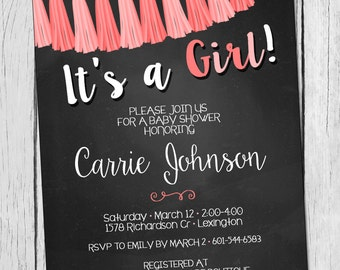 Baby Girl Baby Shower Invitation Tassle Garland Baby Girl Shower Invitation Modern Baby Girl Shower Invite