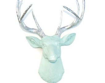 Faux Deer Head in Sea Foam Green with Chrome Antlers - Taxidermy Wall Mount D5113