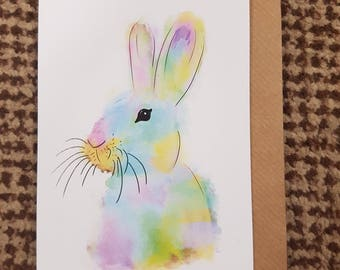 NUTELLA, Watercolour Bunny Rabbit A6 Recycled Greeting Card, Hand Painted with Brown Envelope