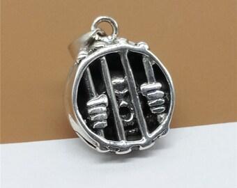 Sterling Silver Skull in Prison Pendant, 925 Silver Prison Pendant for Necklace, Engraved Padlock, 6.4 Grams - LA720