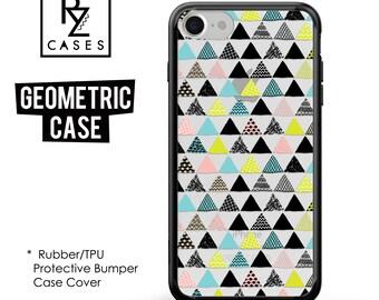 Geometric Phone Case, Geometric iPhone Case, Rubber Case, Triangle Case, iPhone 7, Gift for Her, 7 Plus, iPhone 6S, Bumper Case
