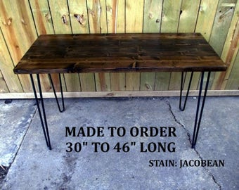 Computer desk, reclaimed wood, hairpin legs, desk, made to order, hairpin legs desk, table, rustic, minimalist desk