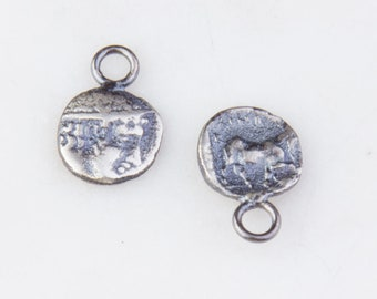 10mm Roman, Greek Medallion Coin Charm in Oxidized Sterling Silver, Medallion Pendant, Ancient Roman, Greek Coin Charms,De Sided HCIN255