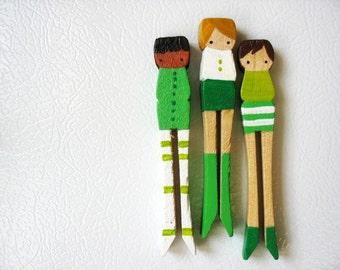 handmade wooden folk art magnets ... green girls