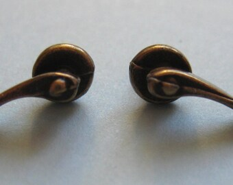 1/12th Scale Dolls' House Antique Brass Scroll Door Handles - Pack of 2