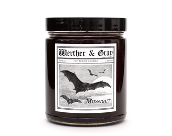 MIDNIGHT, Scented Candle, Gothic Candle, Clove, Bats, Goth Decor, Black, Autumn Scent, Halloween Gift, Spooky Decor, Trad goth, Soy Blend
