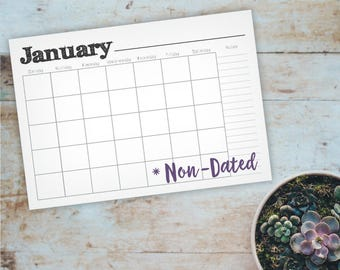 Printable A5 Wall Calendar - Non-Dated Simple, Rustic 12 Month Notes Calendar - Blank Family, Classroom, Office Planner - Instant Download