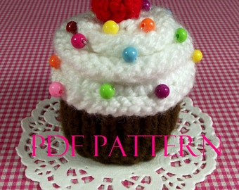 KNITTING PATTERN Cupcake pincushion dessert knit Ornament Toy Amigurumi Food - Meringue Cherry -  Pincushion Pattern Instant Download PDF