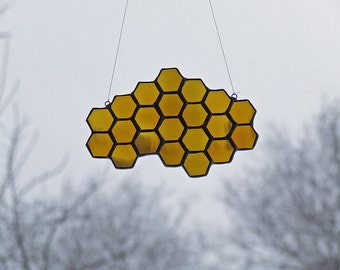 Reclaimed Glass Honeycomb, Statement Sun Catcher, Unique Home Decor, Unique Beekeeper's Gift