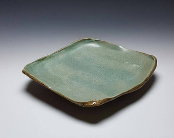 Handmade ceramic platter by Potteryi. Large square platter in satiny sage green.