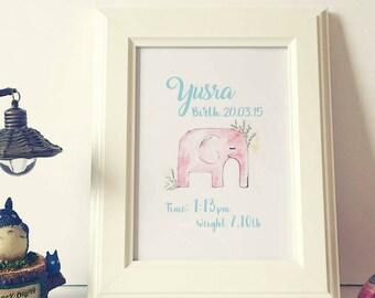 Personalised Name | Illustration | Watercolour | Print | Elephant | Birth | Printable | Baby | Baby Shower | Newborn | Children | Frame |