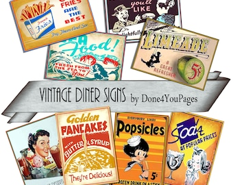 Vintage Diner Signs - Digital Image Sheet - INSTANT Printable Download ACEO Tags JPG for altered art, collage, cards