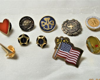 10 Pins, Candy Striper, Boy Scout ,Girl Scout, Novelty, LPN Graduation, Award, Club, Brooch, Tack, Label 1950's to 80's Lot Collection