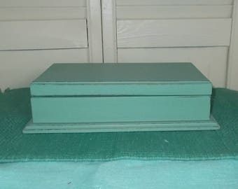 Vintage 1950's or 1960's Mid Century Wood Jewelry Box-Repainted Aqua-Shabby/Distressed