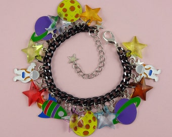 Space Theme Charm Bracelet - planets and stars, spaceman spaceship, astronaut moon, astronomy geek, science fiction, space exploration, cute