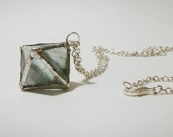 Raw Green Fluorite Octahedron Necklace