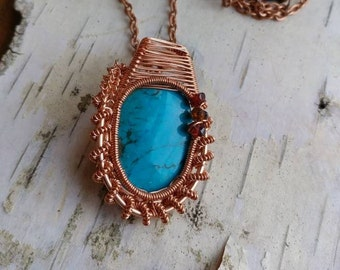 Genuine Turquoise Wire Wrapped Pendant with Quartz Beads
