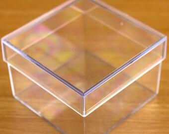 Piazza a forma di contenitore di plastica trasparente compilabili