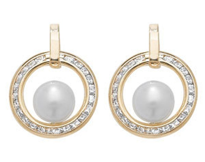 GOLD Unique Circle Stud Earring with Pearl-R4U-ES170