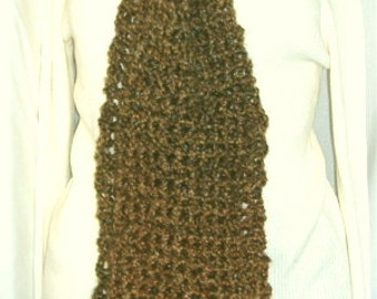 Mans Brown Scarf 95 x 5 Extra Long No Fringe Chunky Handmade Crochet knit Cowl Fathers Uncles Gift Spring