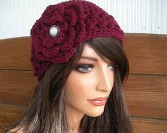 Womens Hat Crochet Hat Winter Fashion Accessories Women Beanie Hat Cloche in Claret with Crochet Flower - Choose color