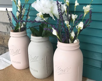 Hand painted and distressed chalked large mouth Ball mason jars | farmhouse | housewarming