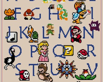 Mario ABC Sampler Cross Stitch Pattern (PDF)