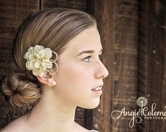 Rustic Wedding Hair Clip - Twine Lace & Chiffon - Alligator Clip - Wedding  Cream Burlap Bridesmaid Flower Girl