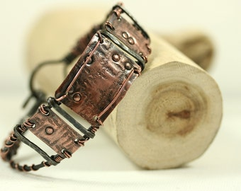 Copper And Steel Mixed Metal Cuff Bracelet Bangle